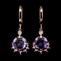 Unheated Round Purple Amethyst 11mm Cubic Zirconia 925 Sterling Silver Earrings