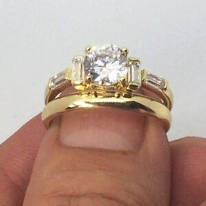 14k gold Overlay  Imitation Diamonds Bridal Engagement Wedding Ring Set LY35