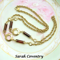 VINTAGE SARAH COVENTRY NECKLACE TEXTURED RINGS CHAIN ROOT BEER COLOR TUBES