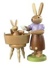 Mueller - Traditional German Easter Wooden Figurine - Mother Bunny Bathing Baby