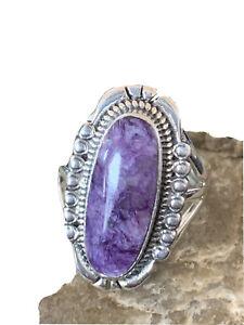 Stunning Native American Navajo Sterling Silver Purple Charoite Ring Sz 9 01453