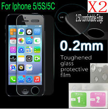 2pcs  edge 0.2mm Tempered Glass Film Guard Screen Protector For iPhone 5/5S/SE