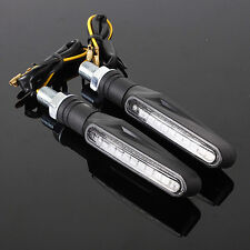 ABS Plastic Motorcycle Black LED Turn Signal Light Indicators Blinker Amber 3C