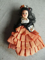"""Vintage 1950s Hard Plastic Jointed Dollhouse Girl Doll 4 3/4"""" Tall"""