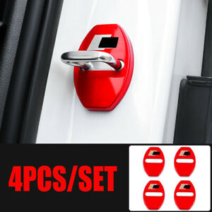 Red Car Door Lock Cover Chrome Buckle For Audi S line RS A3 A4 A5 A6 Q3 Q5 TT R8