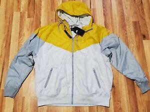 Nike Windrunner Windbreaker Jacket Hoodie Yellow Silver Gray AR2191-471 SIZE XL