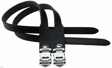 Cinelli Duo Leather Toe Straps Pair Black Road Racing Bike Dual Straps