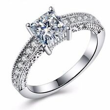 D/VVS1 Diamond Engagement Ring 1 Carat Square Cut 14k White Gold Bridal Jewelry