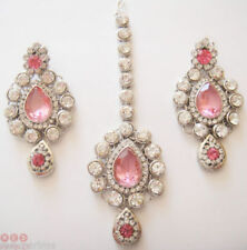 Gioielli etnici e tribali rosa con pietra principale cristallo