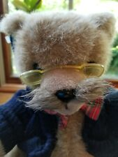 Applause World Class Dad Bear Mustache Glasses Jointed Plush Bow Tie  with tags