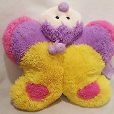 """Butterfly Pillow Folding Stuffed Animal Plush 17"""" wide Pink Purple Yellow"""