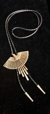 Bolo Tie w/Tips On Cord~Stamped/Signed 1988 Gold Tone Flying Eagle