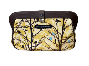 Petunia Pickle Bottom Diaper Bag Clutch Yellow And Brown Blue Birds embroidered