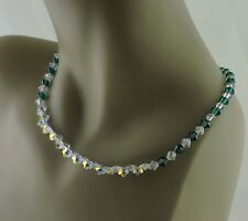 VINTAGE SILVER CLASP EMERALD GREEN AURORA BOREALIS CRYSTAL FLOWER NECKLACE