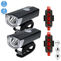 USB Fahrradbeleuchtung Rücklicht Set LED Fahrradlicht Fahrad Lampe Scheinwerfer