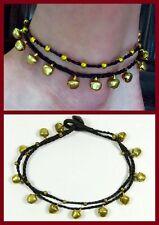 Fußbändchen Fußkettchen Fußkette Schwarz Gold Glöckchen Perlen Hippie Boho Neu
