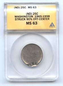 1965-1998- (ND) WASHINGTON QUARTER (25C) 90% OFF CENTER-ANACS MS63-RARE-MINT