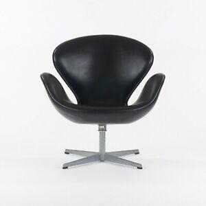 1968 Vintage Arne Jacobsen Swan Chair by Fritz Hansen of Denmark Black Leather