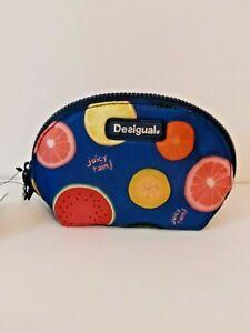 Desigual Blue Colorful Juicy Rain Trio Bag Pouch Fruit Design $59.95
