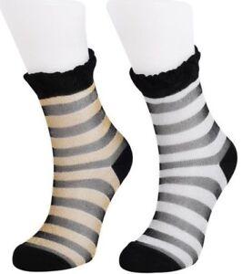 2 Pairs Women Ultrathin Transparent Lace Glitter Shimmer Striped Ankle Socks UK