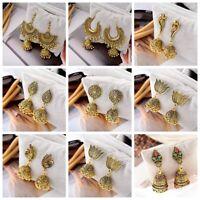 Vintage Bohemian Style Gold Silver Earrings Indian Hook Drop Bell Women Earrings