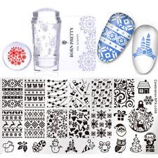 3Pcs Nail Stamping Plate Stamper Scraper Christmas Theme Manicure Born Pretty