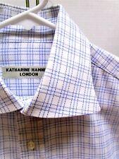 Men's KATHARINE HAMNETT LONDON Dress Shirt BLUE Plaid 16-37