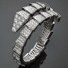 Fabulous BULGARI Serpenti Pave Diamond 18k White Gold Bracelet, Box Papres