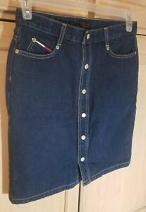 Women's Size 7 Tommy Hilfiger Blue Denim Jean Skirt Button-Up Front & 5 Pockets