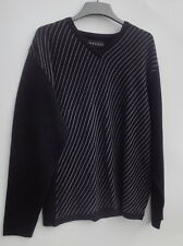 Baracuta V-Neck Black Striped  Men's Sweater Size-L