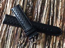Cinturino vintage forato in pelle 20mm modello Rally Racing watch band Nero