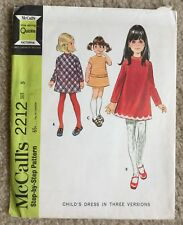Vintage 1960's McCalls Child's A Line Dress Cut Sewing Pattern 2212