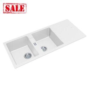 White Granite Quartz Stone Kitchen Sink Double Bowls Drainboard Top/Undermoun...
