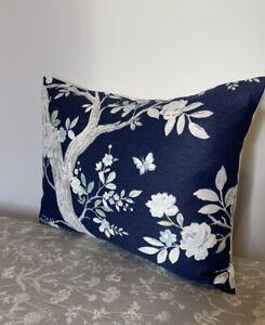 "12x16"" Laura Ashley cushion cover Queensbury Midnight & Austen Off White reverse"