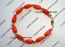 Feng Shui - Coral & Gold Kids / Baby Protection Bracelet