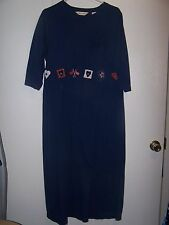 Bechamel Navy Blue Embroidered Hearts & Flags At Waist 3/4 Sleeve Dress Size  L