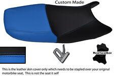 LIGHT BLUE  & BLACK CUSTOM FITS SUZUKI GS 500 01-09 DUAL REAL LEATHER SEAT COVER