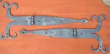 Pair O' 15 inch Pa. Dutch Style Ram Horn Strap Hinges, by Blacksmiths