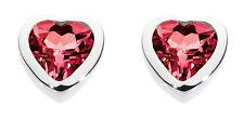 Dew 925 Sterling Silver Birthstone 6mm Heart Stud Earrings - July Ruby Crystal