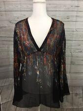 Chicos Boho Tunic Top Size 2 Womens Medium Black Multi Color Feather Silk Shirt