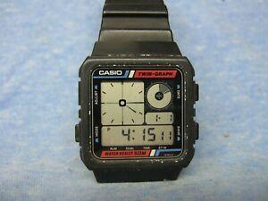 "Men's Vintage CASIO ""Twin-Graph"" Digital Watch AE-20W w/ New Battery"