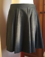 Jigsaw Grey Wool Mix Short Length Flippy Skirt Herringbone Size 10 / Waist 30
