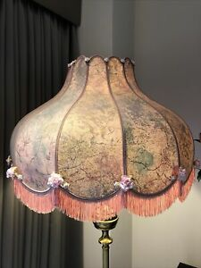 Big Victorian Downton Abbey Traditional Deco Fringed Roses Pink Lampshade 22 INS