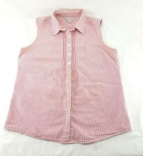 L.L. BEAN Women's Blouse Size M Red and White Cotton Sleeveless Top