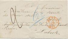 """BELGIEN 1854 Taxe """"6 1/2"""" a. Zeitungsschleife von """"ANVERS"""" n. LÜBECK KUNSTVEREIN"""