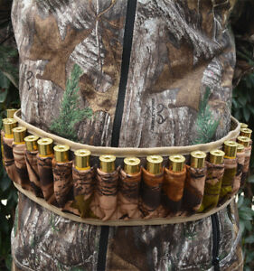 Camo Tactical 25 Rounds Rifle Cartridge Belt Shotgun Bandolier Shell Holder