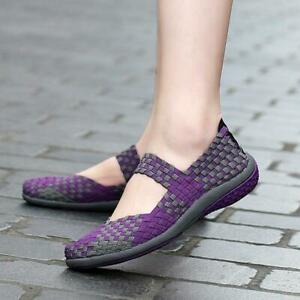 Ladies Casual Walking Shoes Elastic Mary Jane Flat Pump Comfort Sandals Mesh SZ