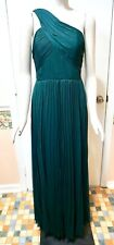 NWT $300 White House Black Market One Shoulder Pleated Gown, Deep Viridian