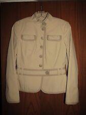 Akris Punto $995 Khaki Beige Cotton Stand Collar Belted Waist Jacket 6