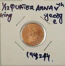 1924 B British India 1/12 Quarter Anna George Vth Coin BU UNC